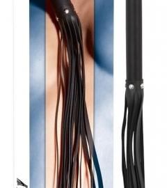 ZADO – dlhý kožený korbáč s drevenou rukoväťou (čierny)