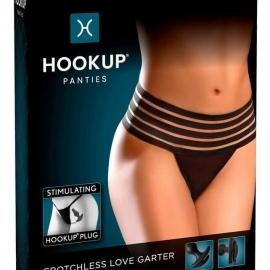 HOOKUP Plug - striped bottom anal with dildo (black)